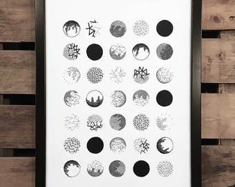 White Space 9, A3 Art Print, Hand Drawn, Original Art