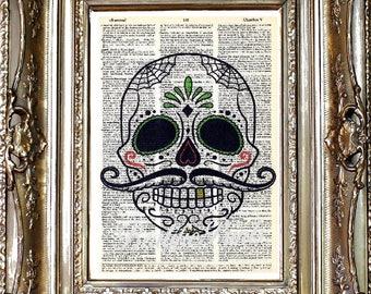 Skull Dictionary Art Print, Skull Sheet Music Print, Vintage Paper Print, Dictionary Art, Sheet Music Art, Skull Art, Skeleton Art Print
