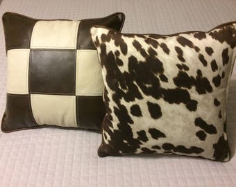 Stylish Leather/fabric accent cushions for western or cottage decor