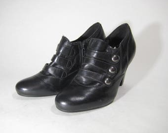 Leather AMBRA Women's Shoes Black Soft Heel Zip Size 6,5us/4uk/37eu