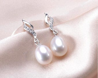 Natural Freshwater Pearl Drop Earrings, Wedding Earrings, Bridal Pearl Earrings, Gold Plated Earrings