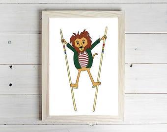 Balancing Lion - Unframed Art Print, Lion Drawing, Nursery Picture, Animal Wall Art, Children's Decor, Kid's Bedroom.