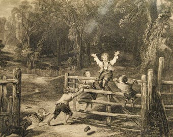 Lithograph of children playing