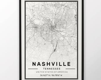 Nashville City Map Print, Modern Contemporary poster in sizes 50x70 fit for Ikea frame All city available London, New york Paris Madrid