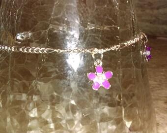 Pretty flower ankle bracelet Silver plated