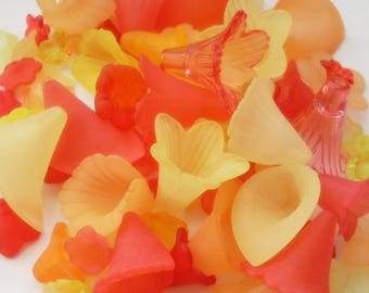 Lucite Acrylic Flower Beads, Variety Mix, Ember Hues, 50g