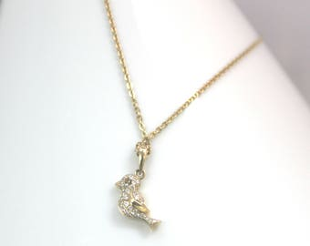18 in 14 KT Yellow Gold with Fine Diamond Bird Pendant Necklace