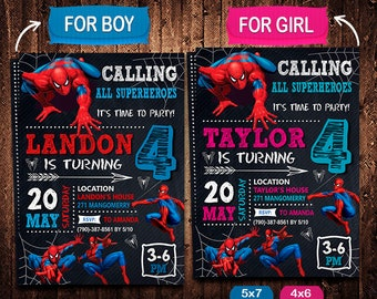 Spiderman Invitation, Spiderman Invite, Spiderman Birthday, Spiderman Party, Spiderman Printable, Spiderman Card, Spiderman Digital