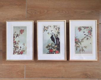Vintage Print/Chinese Painting/Art/Decoration/Set of 3 Chinese flower and bird painting/Guarantee oid/Guarantee authentic