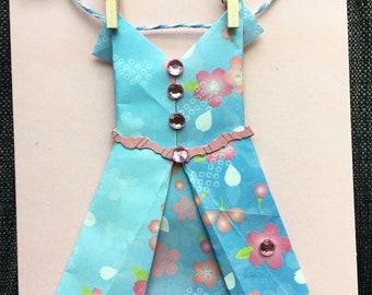 Handmade Card Featuring Origami Dress