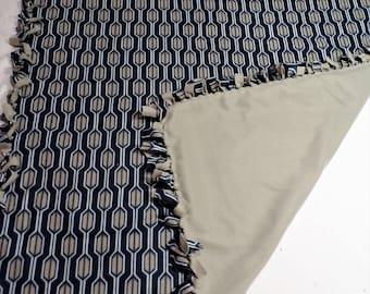 Blue and Gray Fleece Blanket