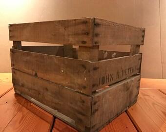 Set of 3 Vintage Wood Apple Crate Reclaimed Wood Shelving Re-purposed Wood Crate Rustic Wood Crate