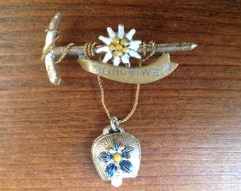 Vintage souvenir bell brooch from Grindelwald in Switzerland 1960s