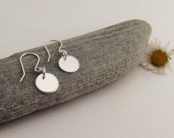 Sterling Silver Disc Earrings, Drop Earrings, Sequin Earrings, Disc Dangle Earrings, Simple Disc Earrings, Minimal Disc Earrings, Everyday