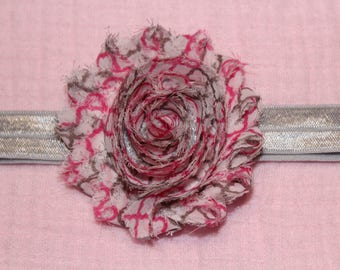 Pink and Gray Flower Bow
