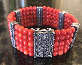 Red Natural Coral with Bali Sterling Silver Bars & Clasp