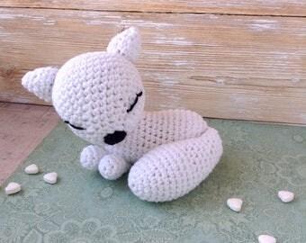 Newborn photo props, amigurumi white fox, sleepy fox, crochet toy fox, softies, soft toy, stuffed animals, first birthday gift