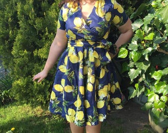 Wheel pin up rockabilly dress blue with lemons