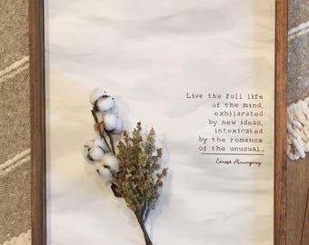 Live a Full Life - Earnest Hemingway Quote Art