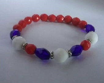 Patriotic, red, white and blue bracelet
