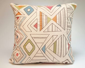 Embroidered Modern Throw Pillow with Designer Fabric, 18x18 or custom sizes available