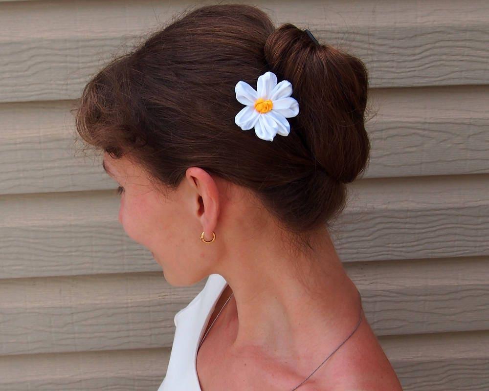 Silk Daisy Hair Clip White Hair Flower Chamomile Hair Clip