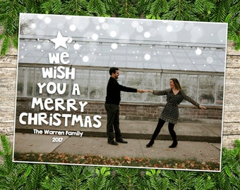 We Wish You a Merry Christmas - Holiday Card Customized, 3 options
