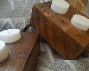candle holder,reclaimed old growth wood,farmhouse rustic decor handmaderare,unique,antique wood.