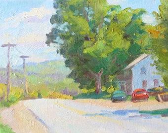 Impressionist Landscape Painting Bright Summer Road Impressionist 8x10 Art Impressionist Painting 8x10 Painting Realist Art Summertime Art