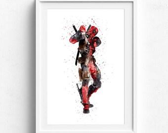 Deadpool art, superhero art, deadpool poster, superhero posters, superhero wall art, deadpool watercolor, superhero prints, kids wall art