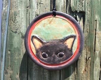 Peek a kitty handmade ornament