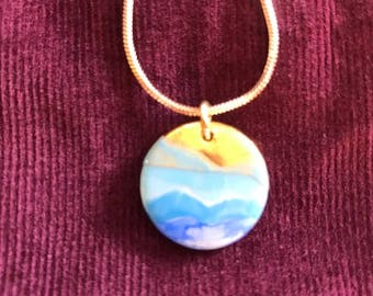 Hand painted ocean on gold necklace