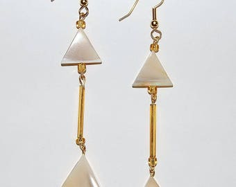 Mother of Pearl Double Triangular Earrings