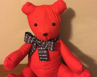 Red Cotton Stuffed Teddy Bear w/ Nautical Anchor Ribbon
