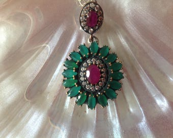 Stunning Hermosa Emerald and Ruby Necklace