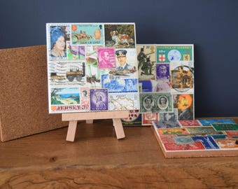 Postage Stamp Coasters - Recycled Art