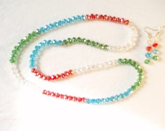 28 in multicolored crystal beaded necklace with earings