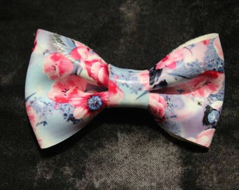 Vegan Leather Floral Bow