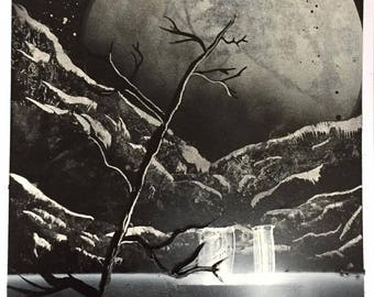"""nature paiting A3 poster wall art spray paint """"midnight waterfall"""""""