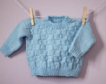 Adorable Baby Jumper, Hand Knitted by Nanny, Blue Weave Effect Pattern.