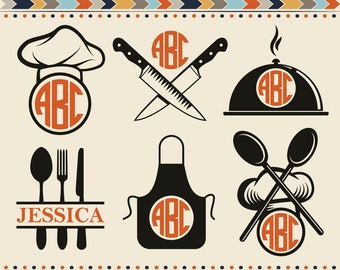 Kitchen Svg Kitchen Utensils SVG Kitchen Monogram Frames Svg Restaurant Svg Chef Svg Monogram Frame Cut Files SVG DXF Silhouette Studio