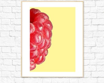 Raspberry Print, Food Art, Fruit Prints, Photography, Kitchen Dining Room Decor, Colorful Minimalist Printable Wall Art, Instant Download