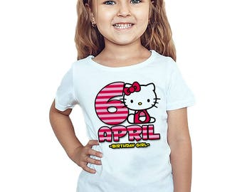 Hello Kitty Birthday T-Shirt Personalized Hello Kitty Birthday Girl Customized Shirt Name and Age Gift Party Favors