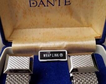 Vintage Dante wrap cuff links mesh silvertone