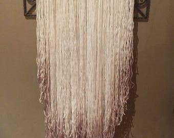 Wall hanging - white wool with rose gold tips