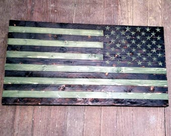 Rustic Wooden American Flag - Military Camo Right Shoulder Patch 24 x 13