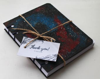 "Hand Bound Coptic Stitch Notebook ""Awesome Galaxy"""