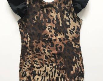 Baby Girls Toddler Leopard Flutter Sleeve Leotard