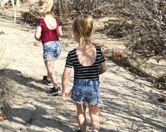 toddler girls baby black and white stripe scoop back leotard bodysuit