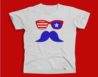 Mustache- fourth of july - independence day tee